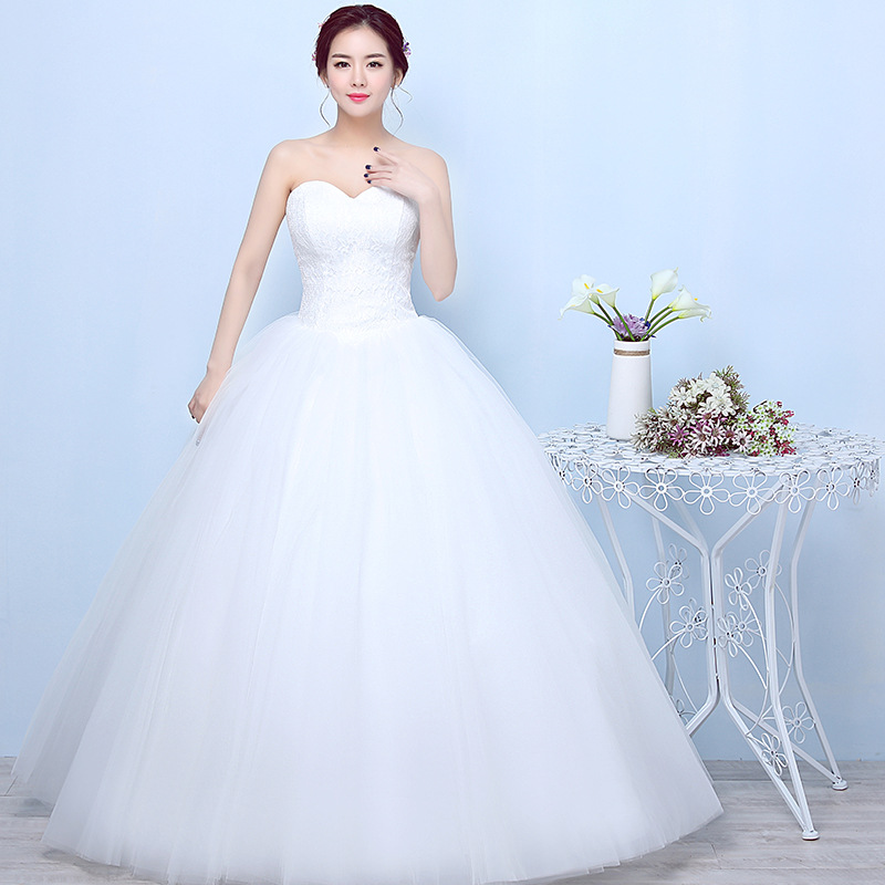 Simple Generous Lace Wedding Dress Strapless Off White Fashion Sexy Wedding Dresses Gown Brides Plus Size Vestido De Noiva