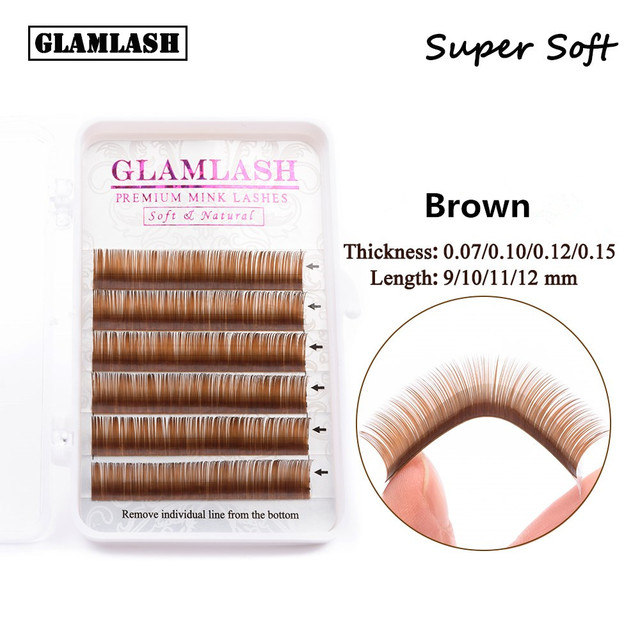 e2cbcd99ad8 GLAMLASH Premium Brown Eyelash Extension Individual brown faux mink silk false  eye lashes extension makeup cilios