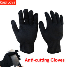 Kopilova Black Anti-cutting Gloves Cut Proof Stainless Steel Metal Gloves Avoid Scratch Breathable Work Safety Gloves
