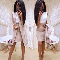 MVGIRLRU офисные женские туфли торжественное платье костюмы бизнес одежда для женщин длинный Блейзер Куртка + платье футляр комплект из 2