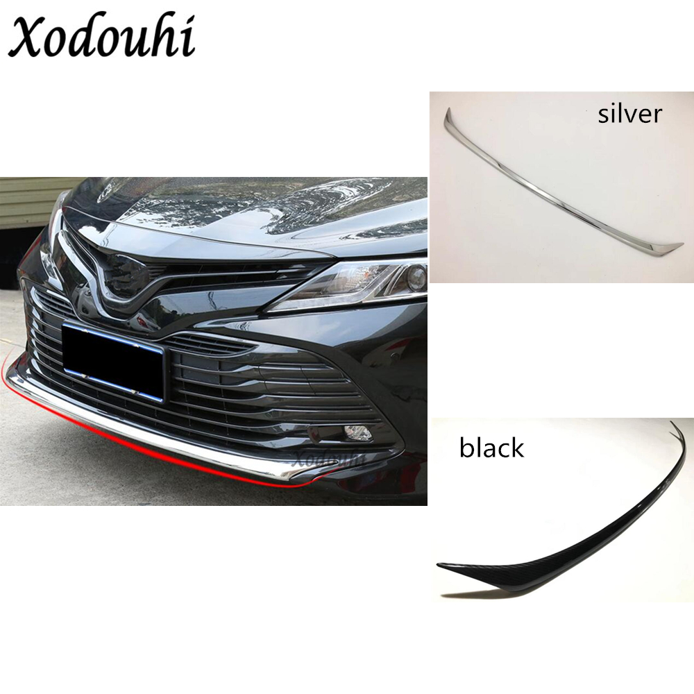 For Toyota Camry XV70 2018 2019 car body bumper engine ABS Chrome trim Front bottom Grid Grill Grille edge panel 1pcs abs chrome front bottom bumper cover trims grille strips car engine protection for toyota corolla 2017 2018 facelift accessories