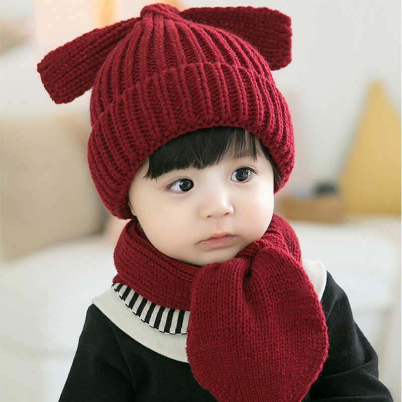 Милый розовый зимний шерстяной детский комплект с изображением щенка, шапка и шарф, теплый хлопковый шарф для маленьких мальчиков и девочек, шапка, очаровательные детские кепки, шапки
