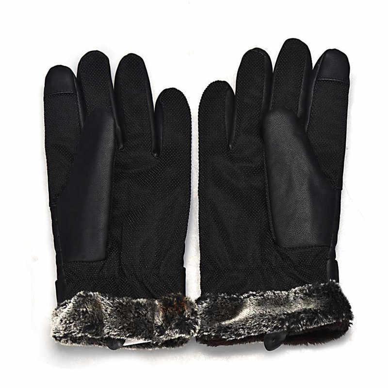 2019 גברים של Windproof כפפות עור חורף כפפות אנטי להחליק מסכי תרמית כפפת כפפות חמים יד גברים גנץ homme Guantes