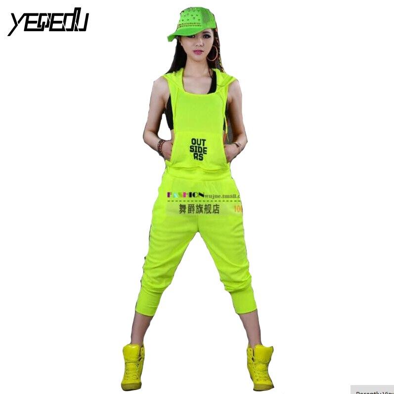 #0104 2018 couleur néon mode salopette Hip Hop femmes lâche Streetwear Joggers femmes femme Harem pantalon femme
