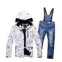 10 К лыжный костюм ветрозащитная водонепроницаемая сноуборд тепловой Снеговик лыжная куртка + толстые джинсы комплекты одежды катание Боль
