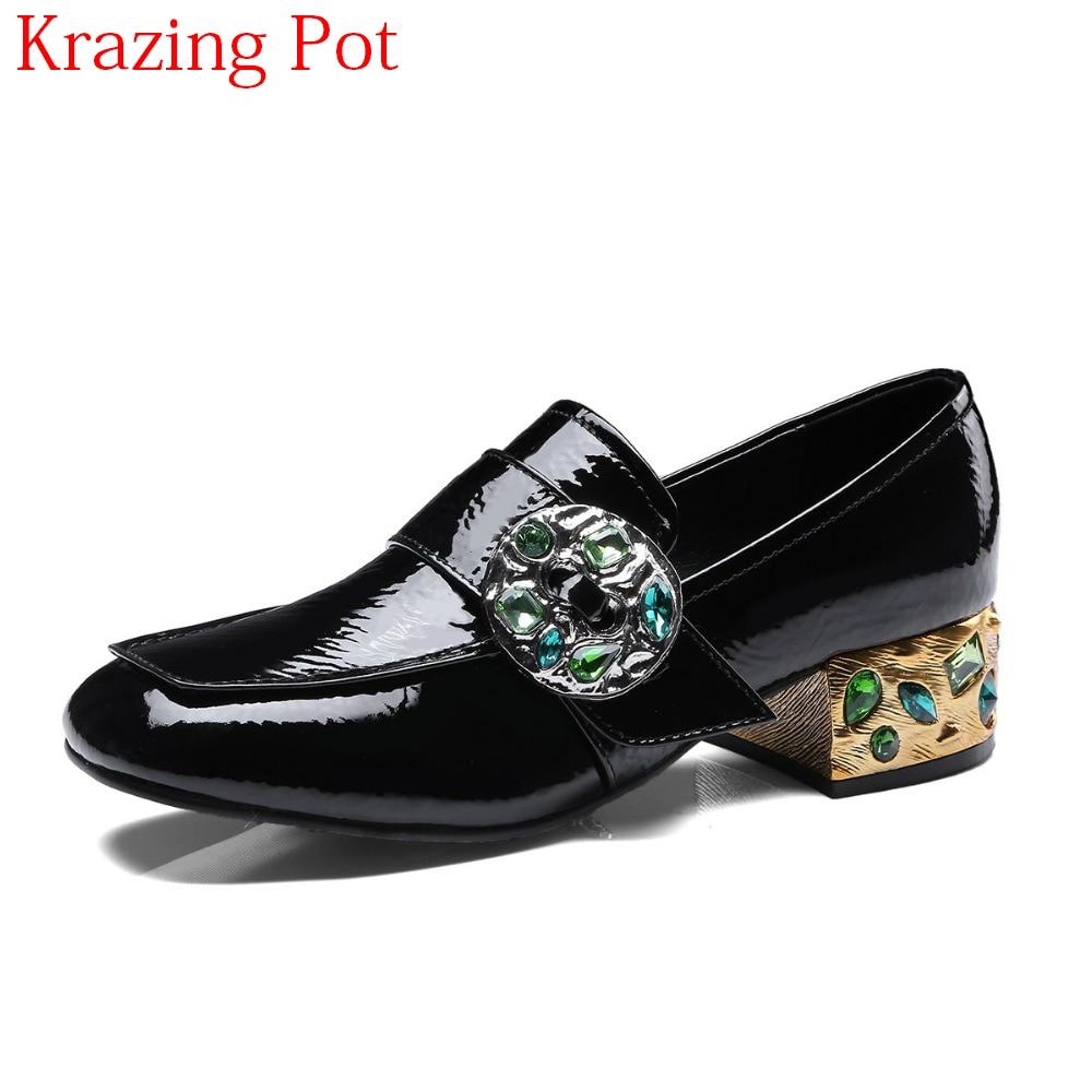 Véritable Slip Pompes La Main À Cuir Marque Diamant Nouvelle Med Printemps Femmes Noir Sur Chaussures Arrivée Doux Talon L08 Rétro En Cristal 2018 FI4zwq