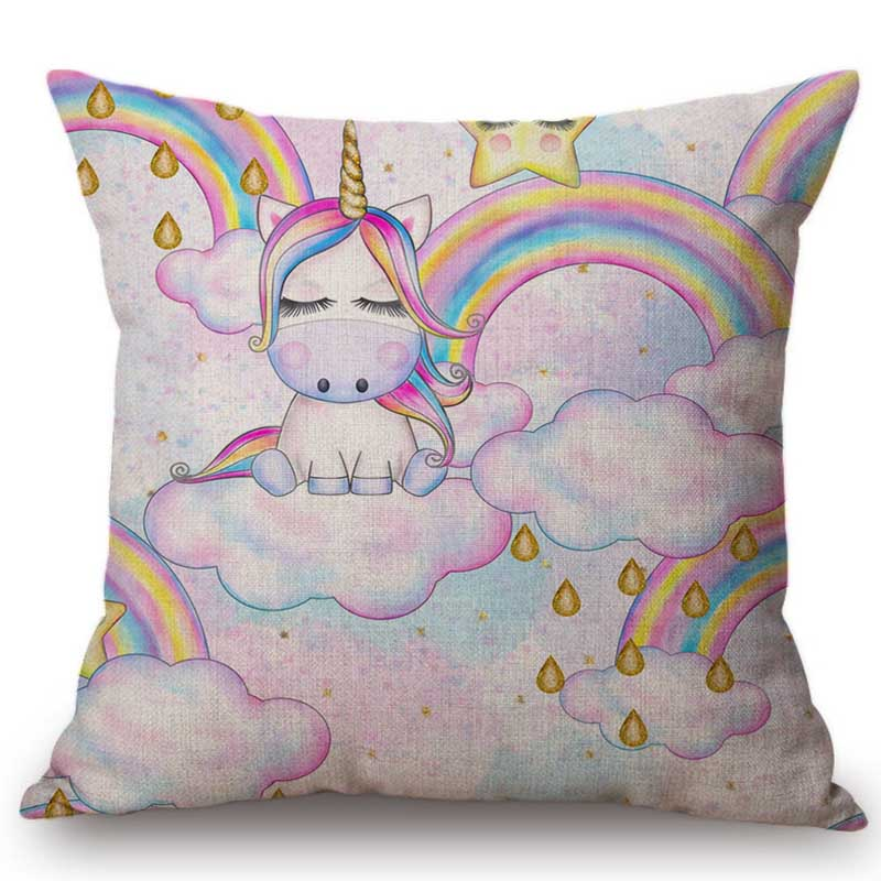 Pink Cartoon Unicorn Baby Girl Birthday Decoration Pillow Case Cotton Linen Princess Gift Room Decorative Cushion Cover Case