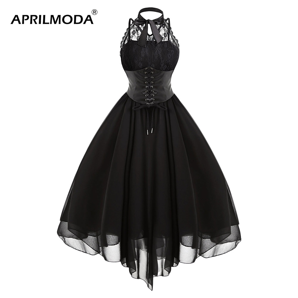 steampunk Victoria Dress Gothic Party Women Vestidos Vintage Black Sleeveless Cross Back Lace Panel Corset Swing Dress Vestidos