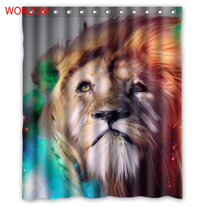 Wonzom 1pcs Lion Waterproof Shower Curtain Leopard Bathroom Decor Peacock Decoration Animal Cortina De Bano 2017