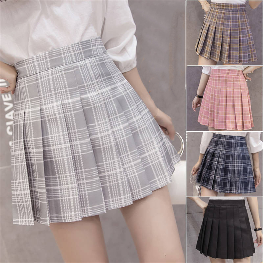 6Colors Korea <font><b>Japanese</b></font> Girls Pleated Skirts Student <font><b>School</b></font> <font><b>Uniform</b></font> Hight Waist A-Line Plaid Skirt <font><b>Sexy</b></font> JK <font><b>Uniforms</b></font> for Woman image