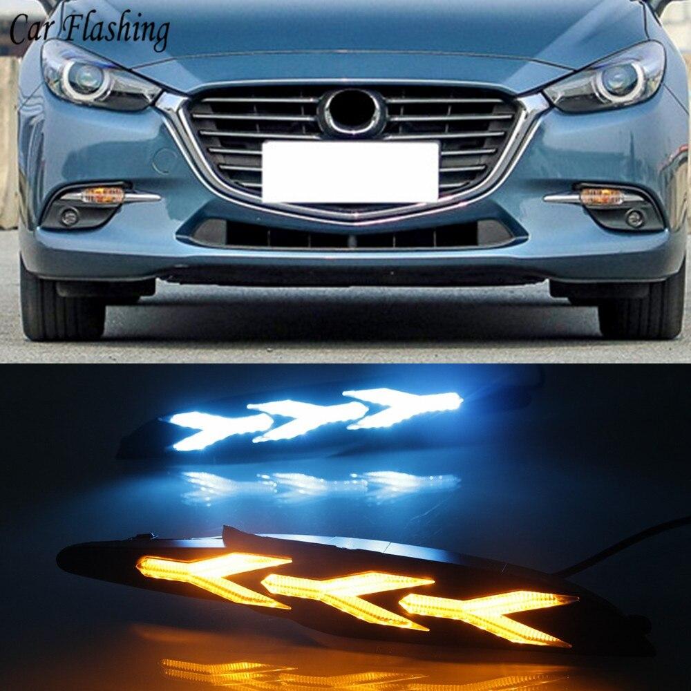 for 2017-2018 Mazda 3 AXELA DRL LED Daytime Running Light Fog Lamp Yellow+White