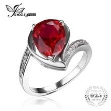 Jewelrypalace 4.9ct gota de agua roja creado rubí aniversario promesa anillo de 925 joyería de plata esterlina para las mujeres a estrenar anillo