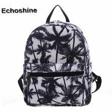 Mejor precio Nueva Moda Mujeres Negro Coconut Tree Impresión de la Lona Del Bolso de Hombro de Impresión Bolsa Mochila Escolar mochila femenina