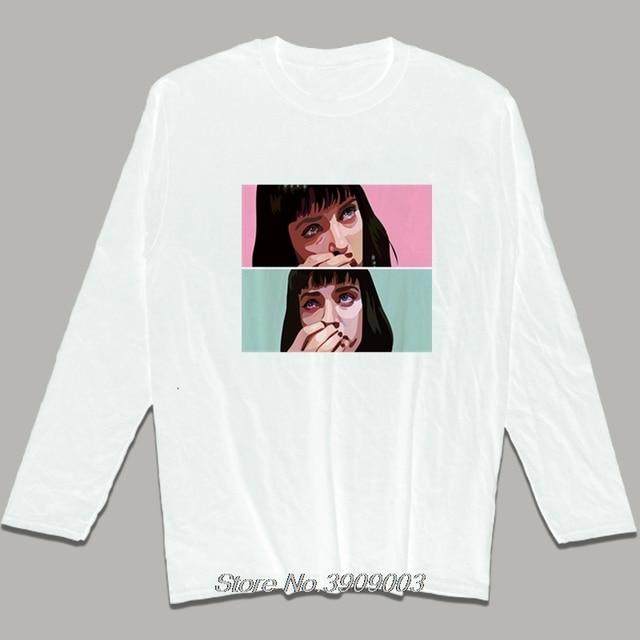 e8f90d382 Movie Pulp Fiction T Shirt Uma Thurman Mia Wallace Quentin Tarantino Tees  Summer Men's Cotton O-neck Long sleeve Shirts