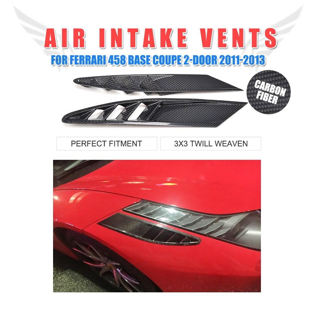 2 шт., вентиляционные отверстия переднего воздухозаборника из углеродного волокна для Ferrari 458, база, купе, 2 дверь 2011 2013, буферная декорация, на