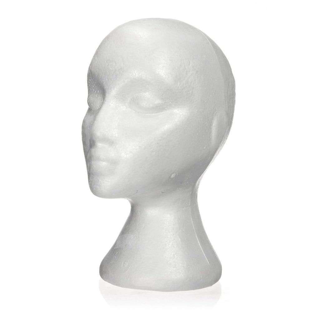 Female White Styrofoam Head Wid Hair Hat Display Mannequin Manikin Foam Stand UK