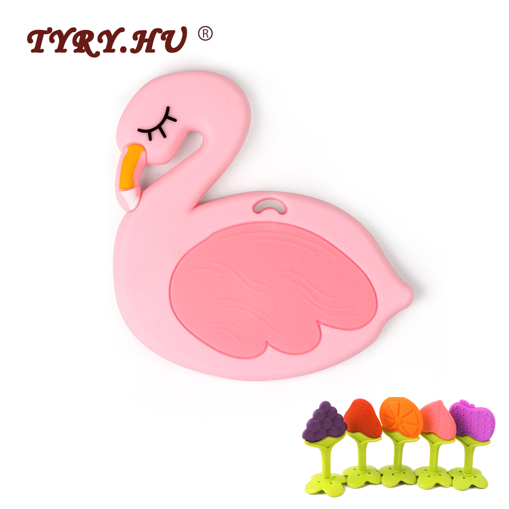 TYRY.HU 1pcs Pink Silicone Flamingo Duck Fruit Animal Teething Toys Food Grade Silicone Teether DIY Pendant Necklace Teether
