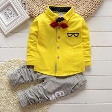BibiCola/комплекты одежды для маленьких мальчиков, детская милая форма, одежда для школы, костюмы для дня рождения, рубашка с длинными рукавами Хлопковые Штаны в полоску
