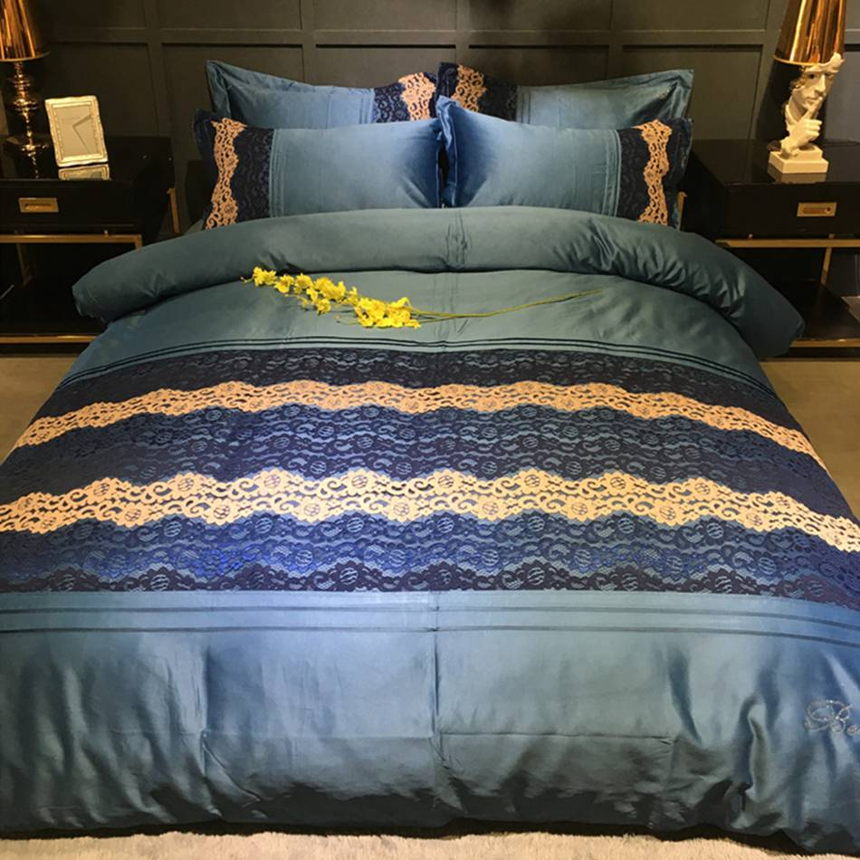 Dark blue bedding - Solid Bedding Set Cotton White Dark Blue Lace Stitching Duvet Cover Bedsheet Pillowcase Comforter Bedding Sets