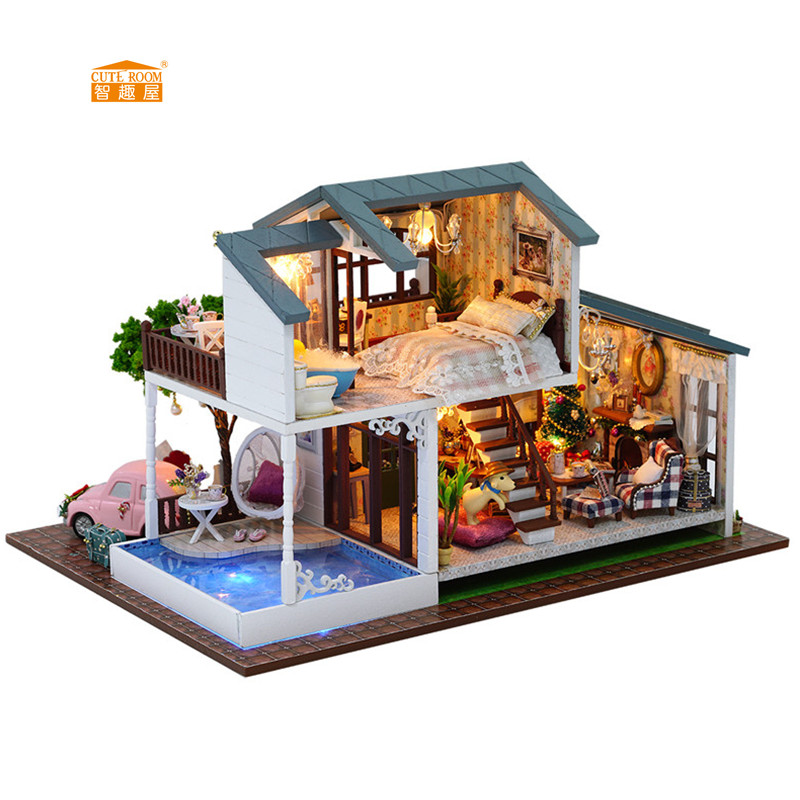 CUTE ROOM New arrival Miniature Wooden Doll House With DIY Furniture Fidget Toys For Kids Children Birthday Gift Christmas Style free shipping new arrival christmas birthday gift children play set cute dinning room doll accessories furniture for barbie doll