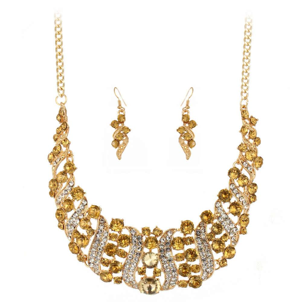 Modische Hochzeit party geschenk Schmuck Sets braut kristall Goldene Überzogene Erklärung Choker halskette ohrringe Jewerly sets