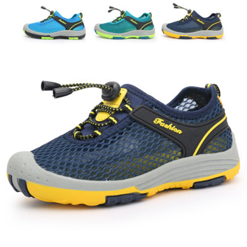 Summer Shoes Men Casual Shoes Slip Outdoor Breathable Shoes Boy Sandals Mesh Slippers Man Flats Beach Platform Masculino Tenis summer sandals women leather breathable mesh outdoor super light flats shoes all match casual shoes aa40140