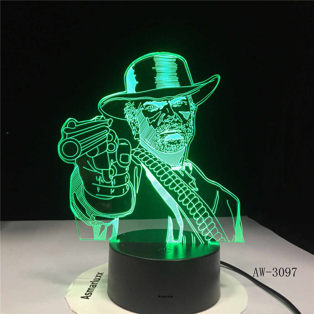 Red Dead Redemption 2 3D lampa stołowa dla dzieci dorosłych LED kolorowe lampa dotykowa sypialnia pilot świecący w nocy zabawki do gier AW-3097