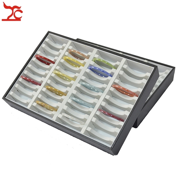Jewelry Display Prop 40 Slots Leatherette Compartments Bracelet Tray Bangle Storage Box Holder Organizer