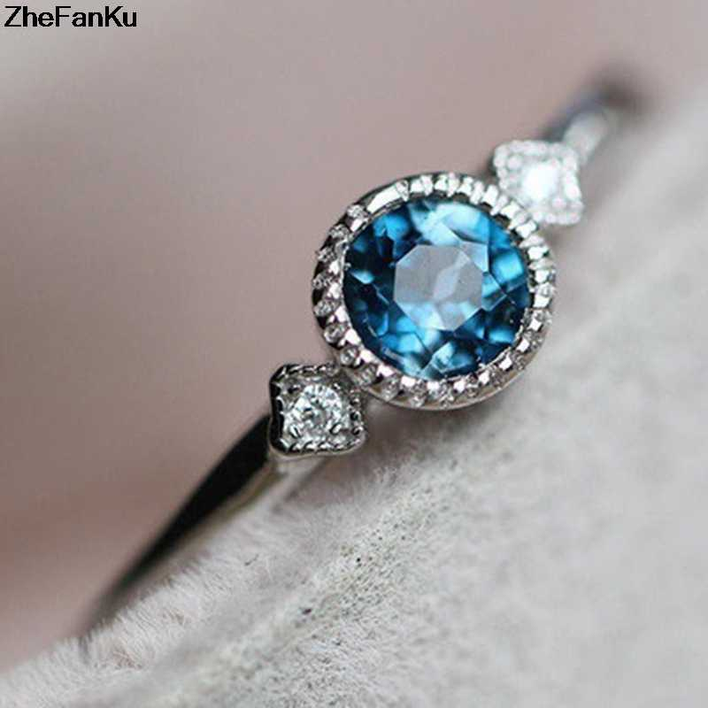 Simple Silver CZ Wedding Engagement Small Sky Blue Zircon Rings For Women Thin Finger Ring Fashion Jewelry