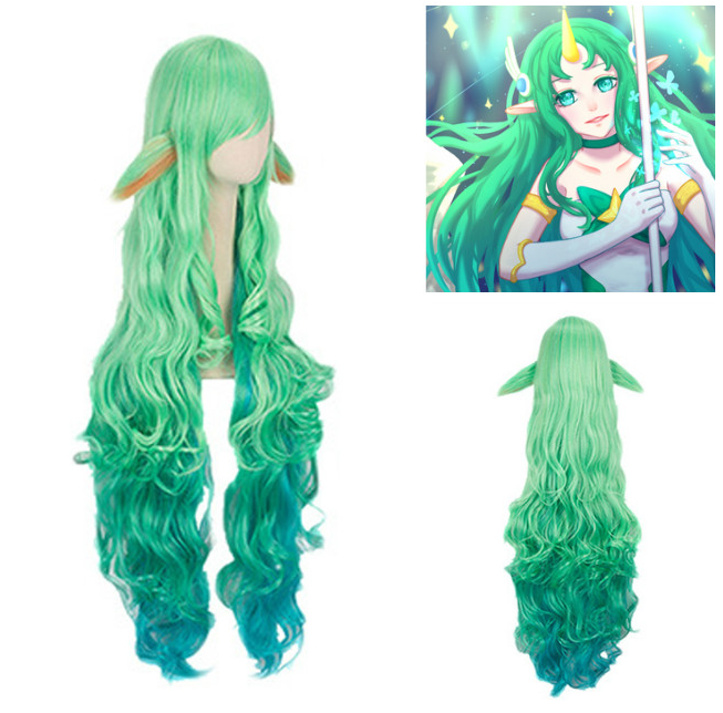 New Wig 100cm LOL Cosplay Soraka Wig Star Guardian Cosplay Props Long Hair Wig For Adult Women Men Masquerade Party