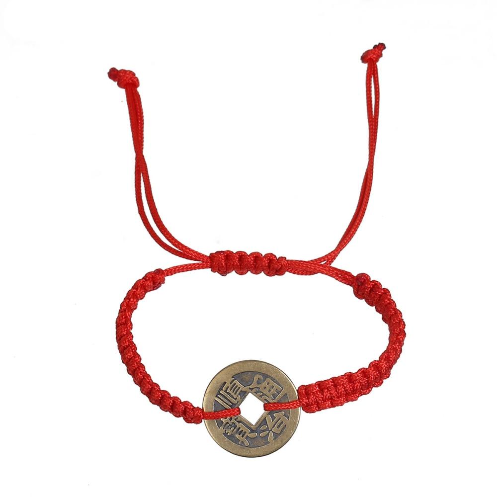 US $1 27 23% OFF|DoreenBeads Polyester Kabbalah Red String Braided  Friendship Bracelets Antique Bronze Copper Cash Coin 30cm(11 6/8