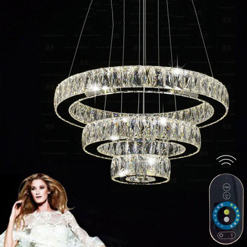 Modern Led Pendant Light Led Pendant Lamp AC110 to 240V Crystal Round Ring Style Light Stairs Loft Led Light VALLKIN zg9046 pendant light ac 110 240v