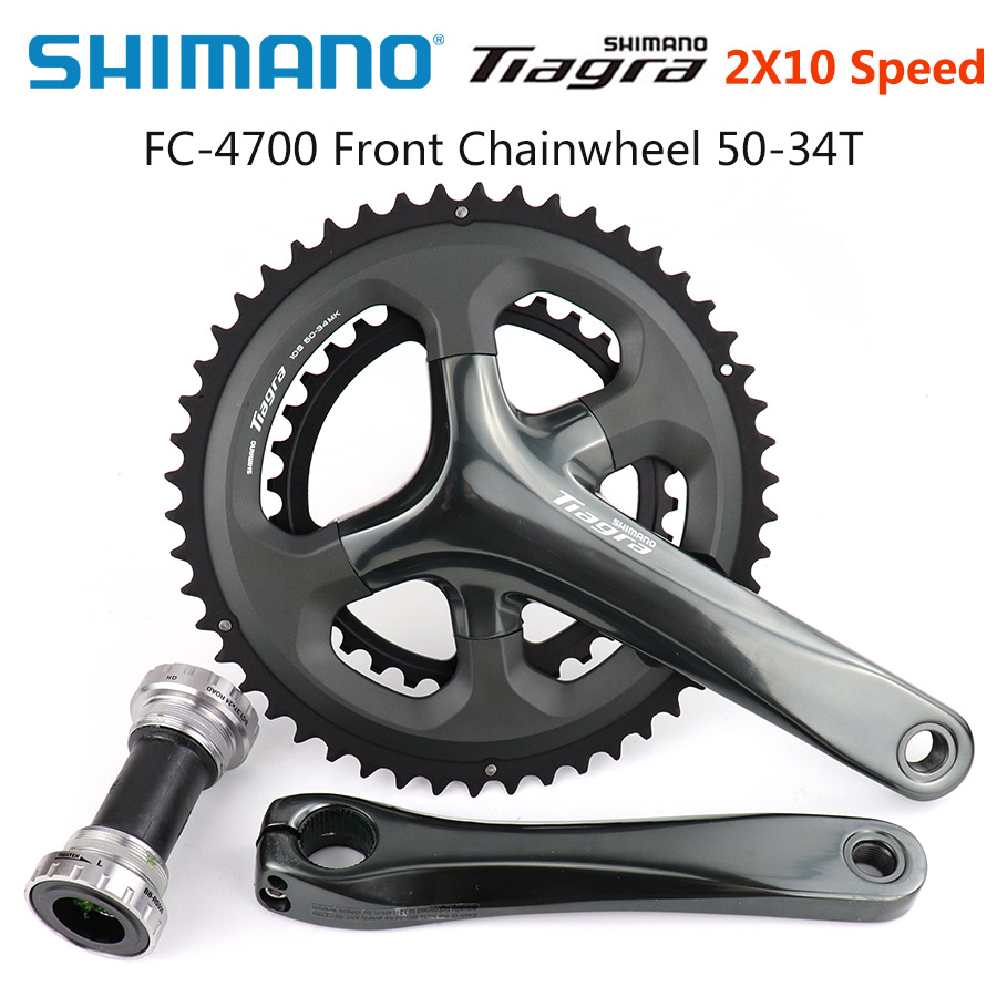 Shimano <font><b>Tiagra</b></font> FC 4700 Crankset 2x10 Speed 50-34T 36-52T 165mm 170mm 172.5mm Road Bicycle Bike HOLLOWTECH II Crankset image