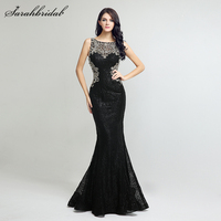 In Stock Sequin Mermaid Long Evening Dresses 2017 Sheath Bodice Illusion Lace Cystal Beading Evening Gowns