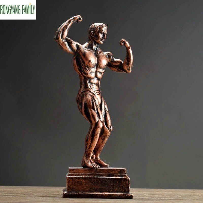 USA Bodybuilding Muscle Man Sculpture European Resin Ornaments Character Statue Art Home Decoration Accessories Figurine Crafts