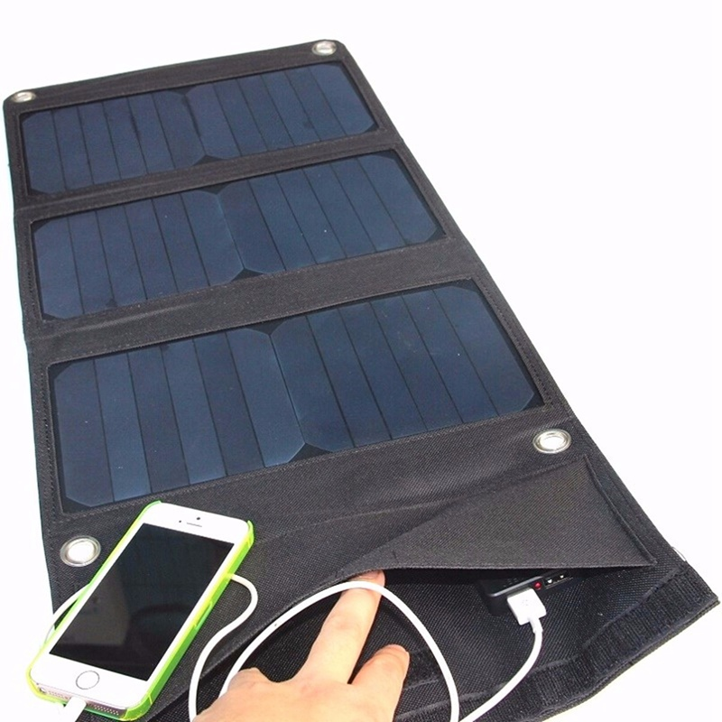 ФОТО Universal Foldable 21W 4.2A 5V Soloar Panels Power Bank Monocrystalline Battery Charger Caravan Outdoor With Sun-Power Chip