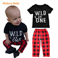 Malayu Baby Brand 2017 Europe and the United States new summer infant set (letter short sleeve T shirt + plaid pants) two suit