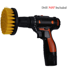 2 3.5 4inch Drill Power Scrub Clean Brush For Leather Plastic Wooden Furniture Car Interiors Cleaning Yellow