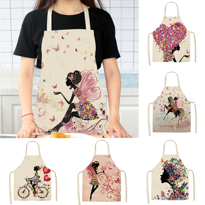 Cotton Linen Easy Cleaning Flower Butterflies Girl Printed Waist Bib Women Aprons 68x49cm/49x40cm Home Cooking Tool Waterproof