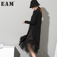 Soonyour 2016 New Autumn High Collar Long Sleeve Gauze Split Joint Two False Long Black