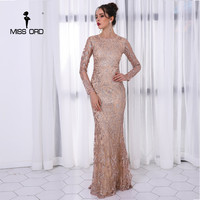 Missord 2018 Sexy O Neck Long Sleeve Pattern Glitter Maxi Dress FT8520 1