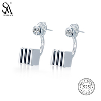 SA SILVERAGE Real 925 Sterling Silver Reversible Double Sided Stripe Cube Drop Earrings Fine Jewelry For