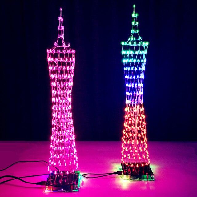 צבעוני LED מגדל DIY ערכות ספקטרום תצוגת מנורת מוסיקה אלקטרונית הלחמה אינפרא אדום שלט רחוק/WIFI APP/Bluetooth מתנה