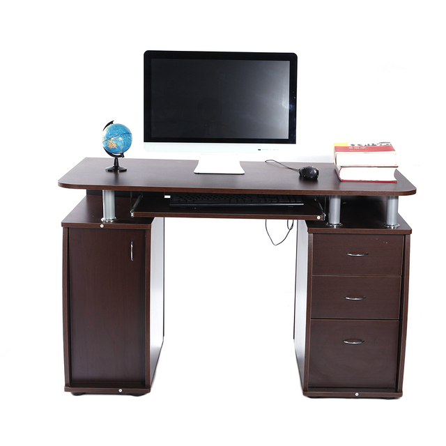 US Shipping MDF Portable 1pc Door with 3pcs Drawers Computer Desk  Coffee Black Wood Color