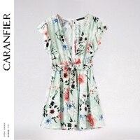 CARANFIER 2018 Spring Summer Dress Women Deep V Neck Sexy Dress Club Wear Ruffle Print Short
