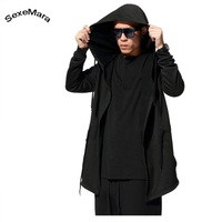 SexeMara New Arrival Long Hooded Cardigan 2017 Spring Autumn Casual Cool Design Solid Hoodie Mens Pullover