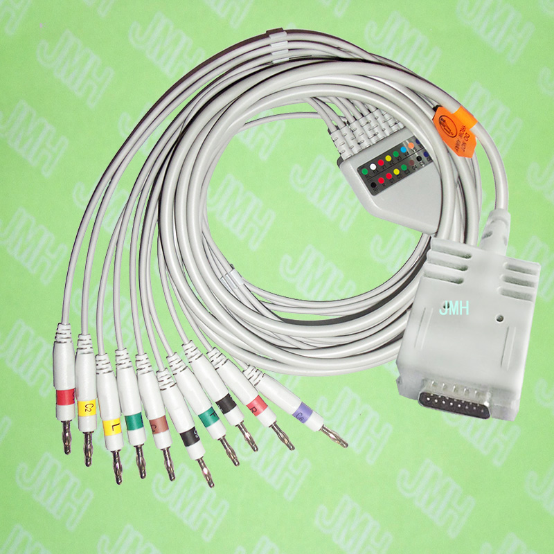 Compatible with Burdick EK-10 EKG 10 lead,One-piece cable and leadwires,15PIN,4.0 Banana,IEC or AHA.Compatible with Burdick EK-10 EKG 10 lead,One-piece cable and leadwires,15PIN,4.0 Banana,IEC or AHA.