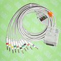 Compatible with Burdick EK-10 EKG 10 lead,One-piece cable and leadwires,15PIN,4.0 Banana,IEC or AHA.