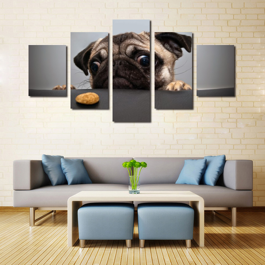 5 Panels Cute Dog Canvas Art HD Printed Painting Modern Home Decoration Oil Wall Poster Picture Animal Photos for Sale