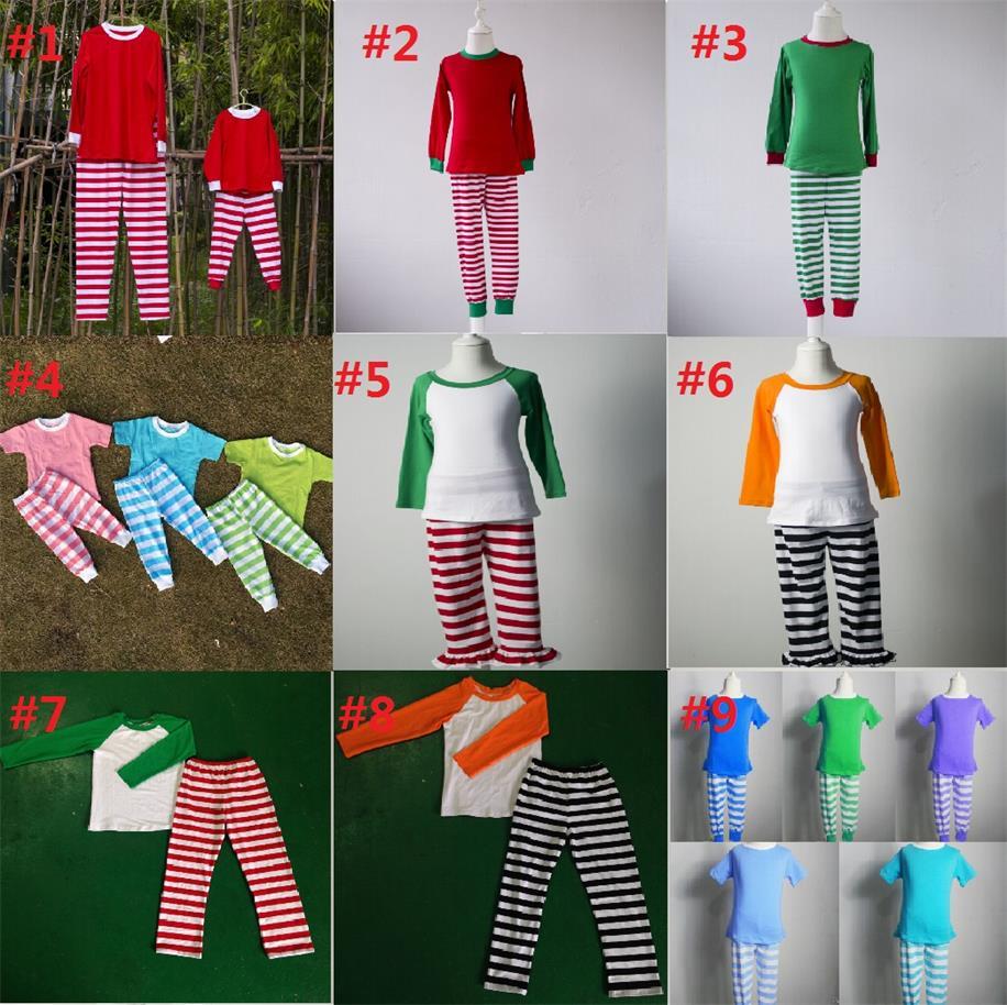 Wholesale family pajamas knit cotton fabric striped pajamas suit children winter clothes XMAS baby pajamas kids clothing